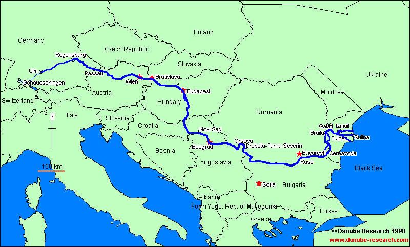 Χάρτης με τον Δούναβη και τις χώρες που περνάει